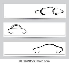 banner, i, stilfuld, automobilen, tegn, og, symbols., vektor, grafisk, elementer, ind, sort, farve, på, gråne, baggrund.