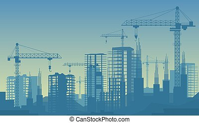 Banner illustration of buildings under construction in process