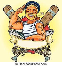 banner., illustrazione, etichetta, marinaio, vettore, disegno, nastro