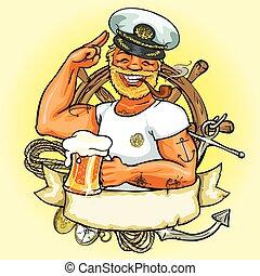 banner., ilustracja, etykieta, marynarz, wektor, projektować, wstążka