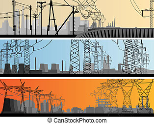 Banner industrial part of city. - Vector abstract horizontal...