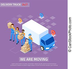 Banner Inscription we are Moving, Delivery Truck. Shipping ...