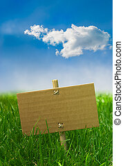 nature banner on a green grass and blue sky - environment marketing