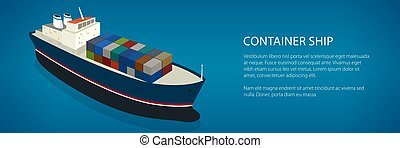 Banner Isometric Container Ship - Banner Cargo Vessel,...