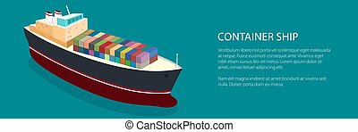 Banner Isometric Container Ship on the Water and Text, Top...