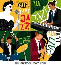 banner, jazz- band, spielen, auf, musikinstrumente_
