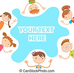 banner kid child Funny cartoon character. Vector illustration