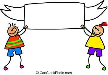 banner kids - little boys holding up a blank banner - just...