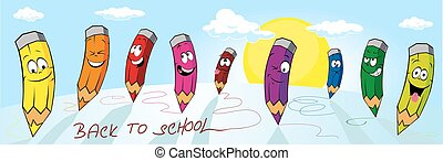 banner LANDSCAPE with CRAYONS BACK TO SCHOOL