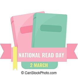 banner., lezen, nationale, boek, wereld, dag