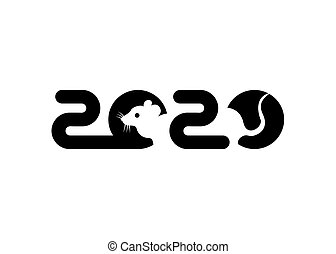 Banner Logo black 2020 happy new year, Christmas. Vector flat illustration with a silhouette image of a mouse. The rat is the talisman of the chinese eastern calendar. isolated on white background
