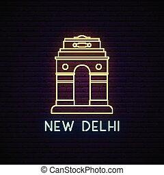 banner., luce, segno., delhi, neon, cancello