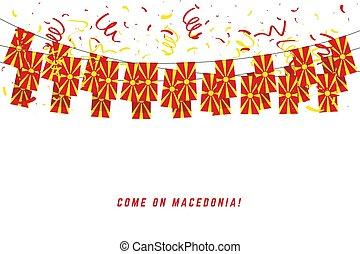banner., macédoine, gabarit, célébration, fond blanc, bruant, pendre, drapeau, confetti