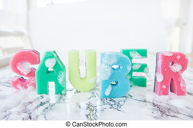 Banner made from kitchen sponges - Banner made from colorful...