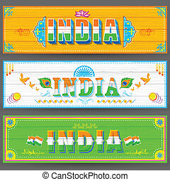 banner, maling, firmanavnet, indien, lastbil