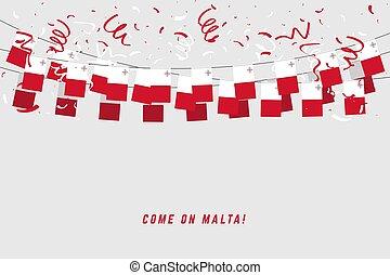 banner., malte, gabarit, célébration, fond blanc, bruant, pendre, drapeau, confetti