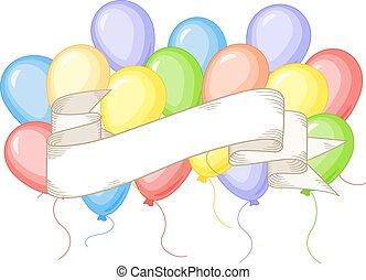 banner, mit, farbenprächtige luftballons