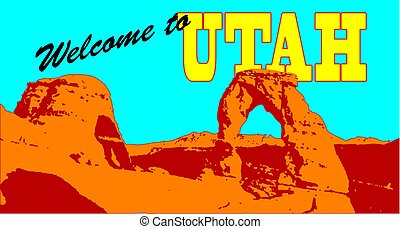 The mountain in Utah with the text Welcome to Utah.
