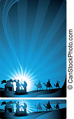 The three wise men and the child Jesus. Two versions, one in letter format and a horizontal format for Internet banner.