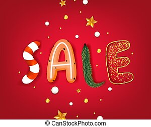 Banner New Years sale isolated on red background with gold stars