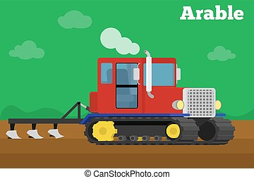Banner of a agricultural crawler tractor with plow tillage...