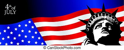 Banner of face of the Statue of Liberty over the United...