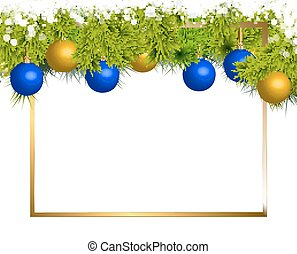 Banner of fir branches and Christmas balls