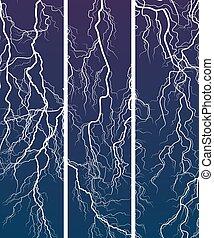 Banner of lightning at night.