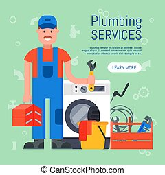 Banner of plumbing services vector illustration. Professional plumber man with tool case and adjustable wrench is standing near washing machine for repair. Landing page of repairing service.