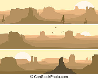 Vector abstract horizontal banner: prairie wild west with cacti and birds of prey.