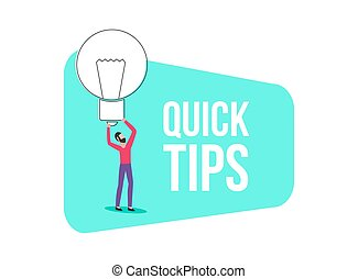 Banner of quick tips, idea or solution concept, man holds a light bulb or lamp.