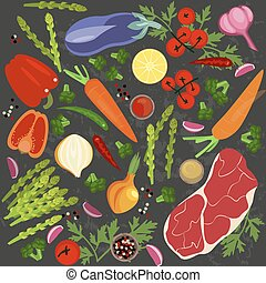 Banner of Raw food for cooking. Vegetables and ingredients...