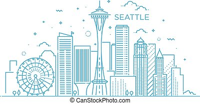 Banner of Seattle city in flat line trendy style. Seattle city line art.