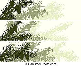 Banner of spruce branch. - Set vector horizontal banner of...