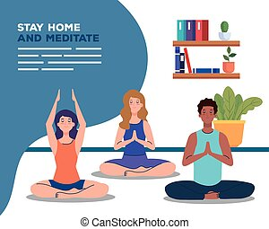 banner of stay home, be safe, people meditating, during coronavirus covid 19, stay at home quarantine, be careful vector illustration design