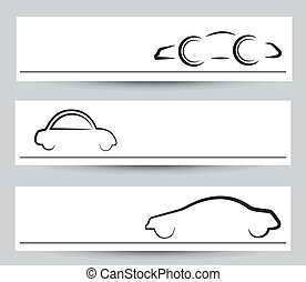 Banner of stylish car signs & symbols. Vector graphical elements in black color on gray background.