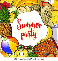 Banner of summertime vacation attributes with round place...