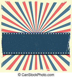 banner on a patriotic striped background