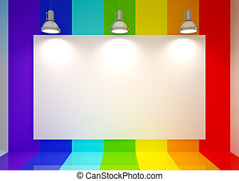 Banner on in rainbow colors wall with lamps - Banner on...