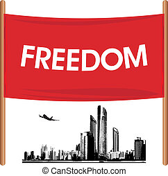Banner on the cityscape background - Demonstration banner on...