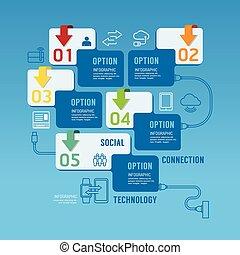 banner., opções, infographics, desenho, tecnologia