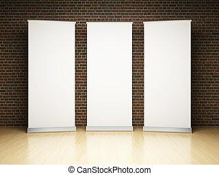 banner, oppe, rulle, blank, studio