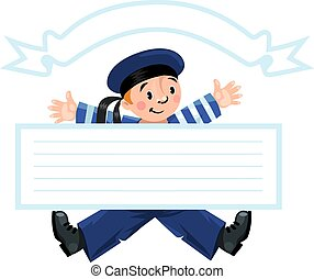 Banner or card with happy sailor - Template baner or...