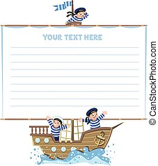 Banner or card with happy sailors on a sailboat - Template...