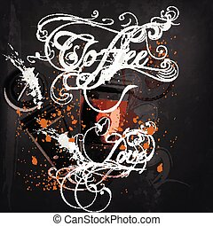 Banner or coffee poster with mugs of coffee coffee calligraphic signature  in vintage style drawing with chalk on a blackboard.eps