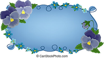 Banner or greetings card with pansies