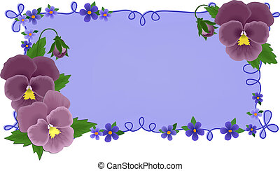 Banner or greetings card with pansies (EPS10)