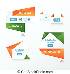 banner origami green, blue, orange