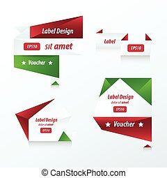 banner origami  red, green color