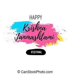 Banner, poster Happy Krishna Janmashtami festival - Vector...